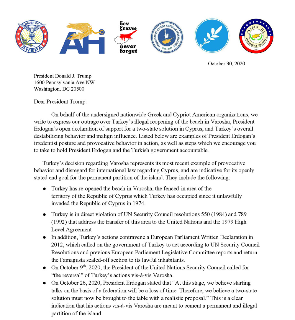Greek and Cypriot American organizations deliver an open letter to President Trump.